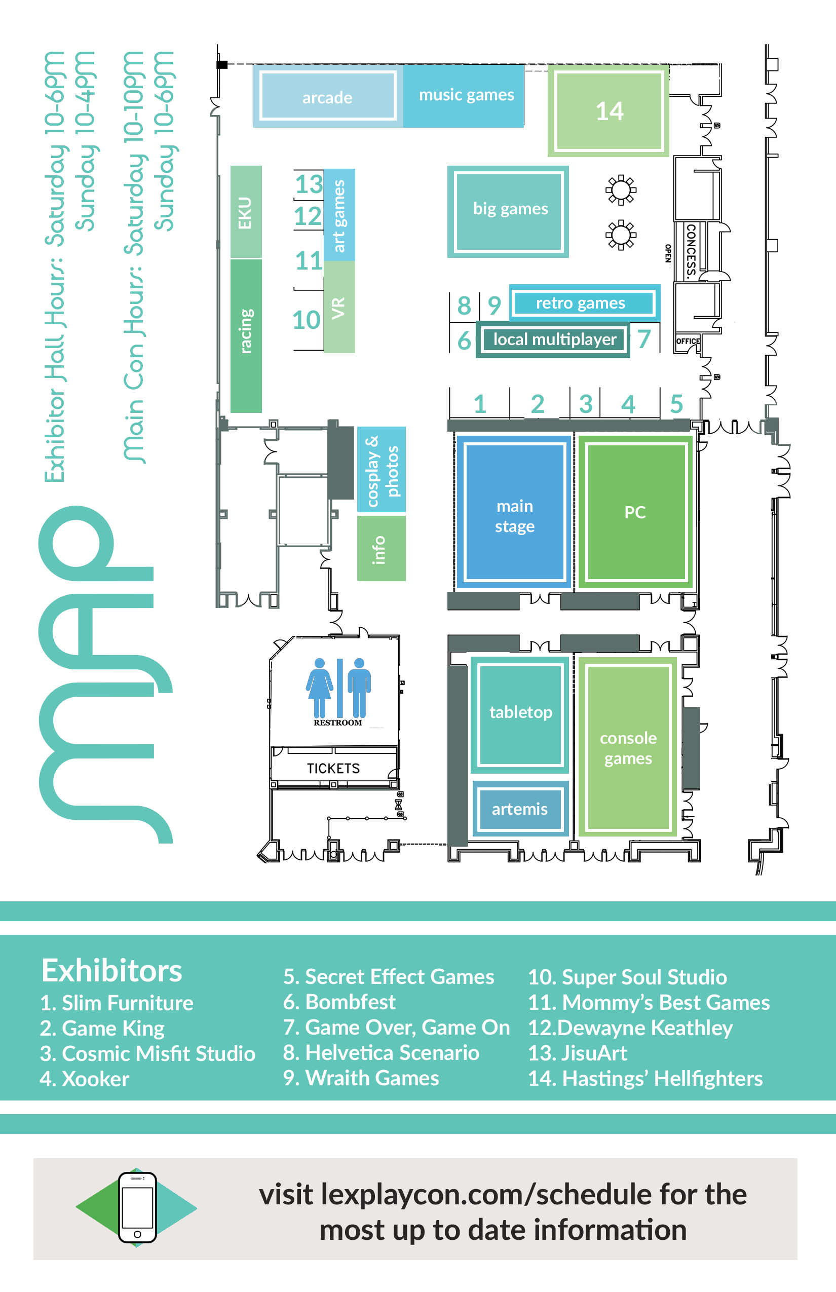 A full map of LexPlay, with green and blue boxes to point out which spaces. A version of this will be available on sight, and anyone who needs help with it can talk to information in the central hallway past the ticket booth.